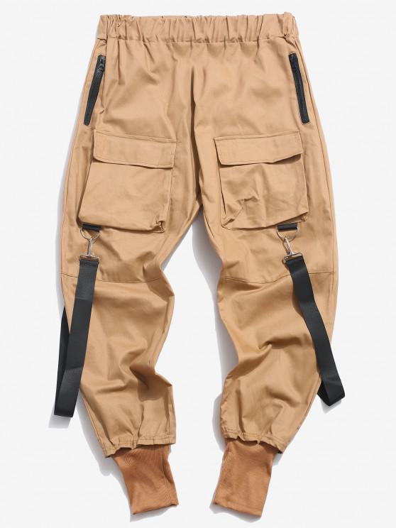 Multi Pockets Casual Cargo Pants - القهوة الخفيفة XL