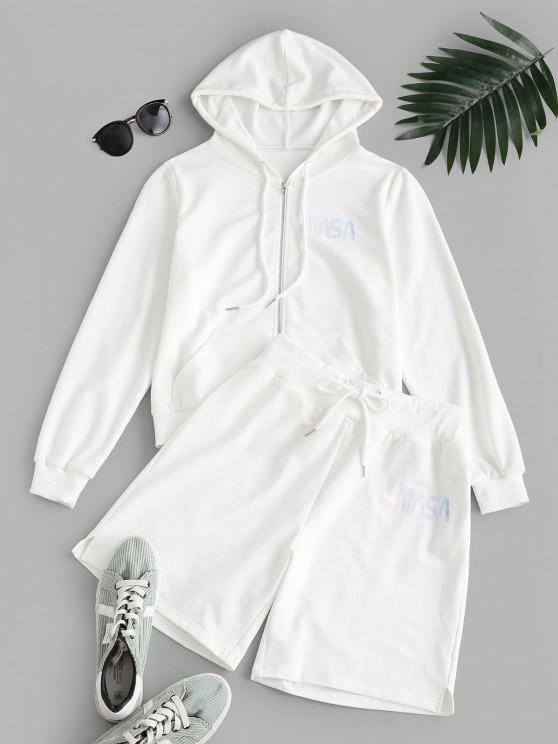 ZAFUL Letter Hooded Drawstring Bermuda Shorts Set - أبيض M