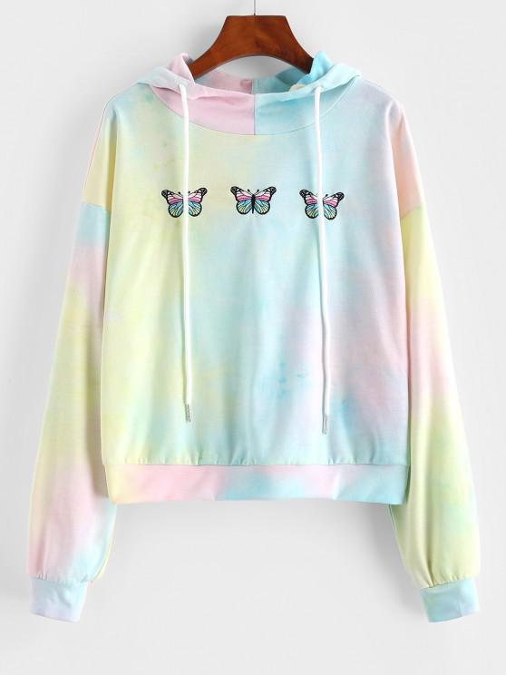 ZAFUL Drawstring Butterfly Embroidery Tie Dye Hoodie - أخضر مصفر S