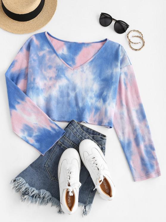shop ZAFUL Tie Dye Drop Shoulder Crop Knitwear - MULTI-A L