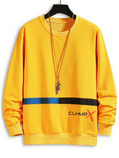 Letter Graphic Print Colorblock Sweatshirt - Yellow Xs