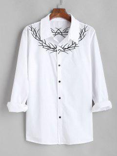 Chemise Brodée à Manches Longues - Blanc Xl