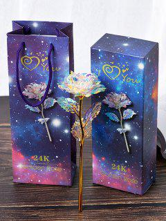 24K Foil Plated Artificial Rose Flower - Multi-a