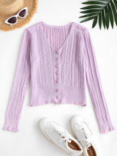 Pointelle Knit Cardigan - Light Purple