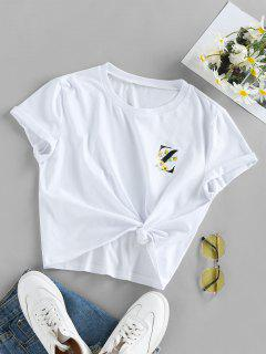 ZAFUL Graphic Sunflower Logo Print T Shirt - White Xl