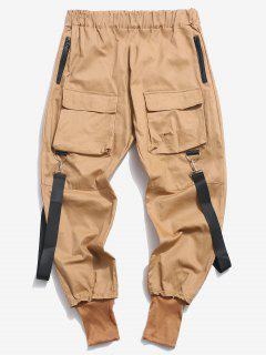Multi Pockets Casual Cargo Pants - Light Coffee Xs