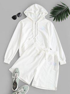 ZAFUL Letter Hooded Drawstring Bermuda Shorts Set - White L