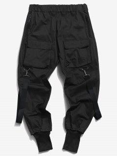 Pantalones Casual Bolsillos Y Zipper - Negro Xs