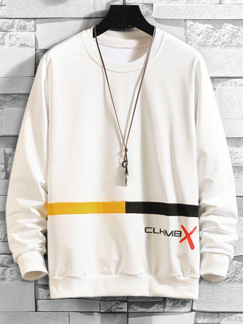 outfits Letter Graphic Print Colorblock Sweatshirt - WHITE XS Mobile
