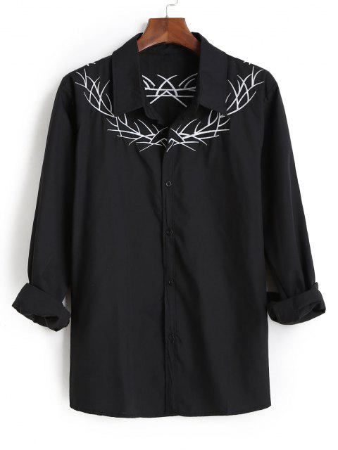 sale Embroidered  Long Sleeves Shirt - BLACK M Mobile