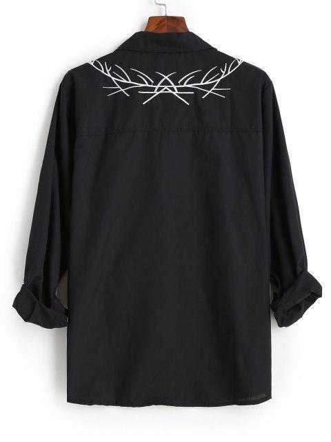 刺繍長袖シャツ - ブラック 2XL Mobile
