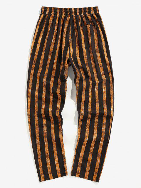 lady ZAFUL Vertical Striped Linen Pencil Ninth Pants - DEEP YELLOW XL Mobile