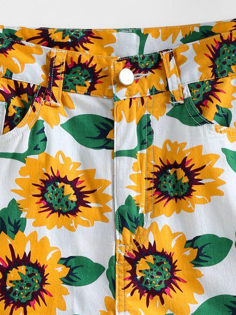 ZAFUL Denim Shorts mit Sonnenblumenmuster - Weiß M Mobile