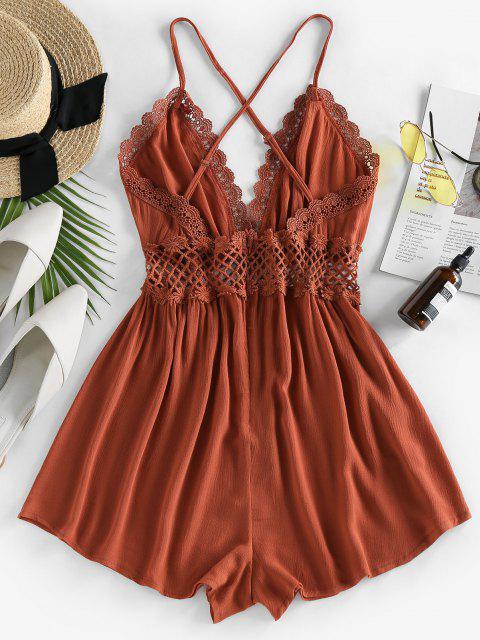buy ZAFUL Lace Crochet Crisscross Romper - CARAMEL M Mobile