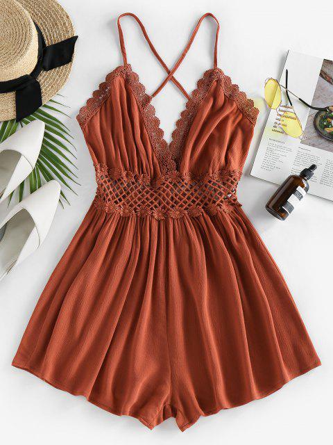 buy ZAFUL Lace Crochet Crisscross Romper - CARAMEL M Mobile