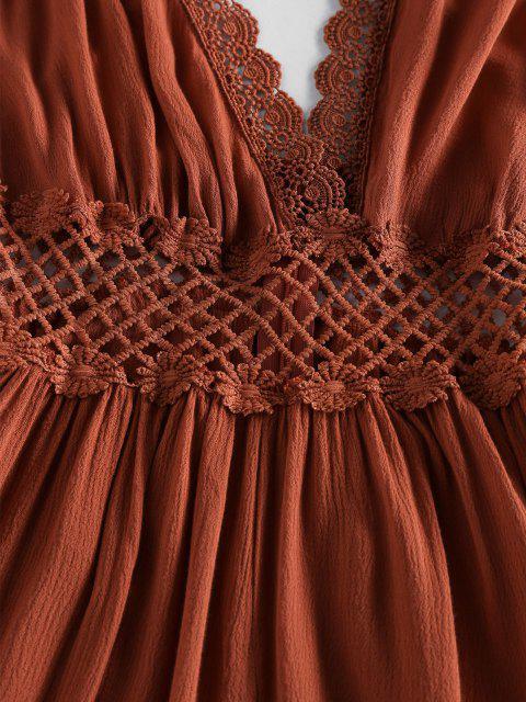 hot ZAFUL Lace Crochet Crisscross Romper - CARAMEL L Mobile