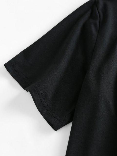 ZAFUL T-shirt de Cortado - Preto XL Mobile