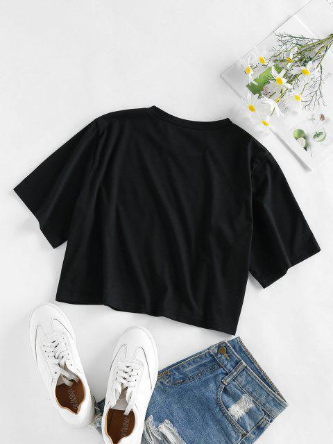 best ZAFUL Flower Bee Letter Print Crop T-shirt - BLACK S Mobile