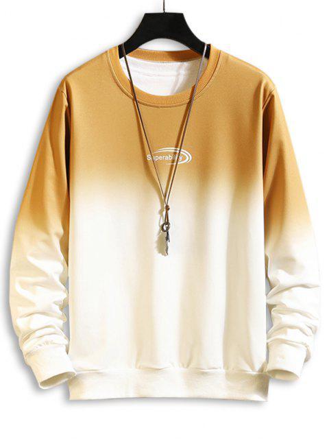 Sweat-shirtOmbréLettreImprimée à Col Rond - Jaune S Mobile