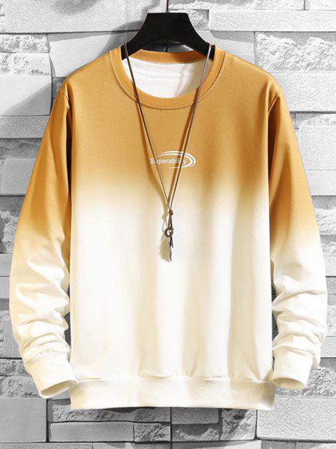 Sweat-shirtOmbréLettreImprimée à Col Rond - Jaune M Mobile