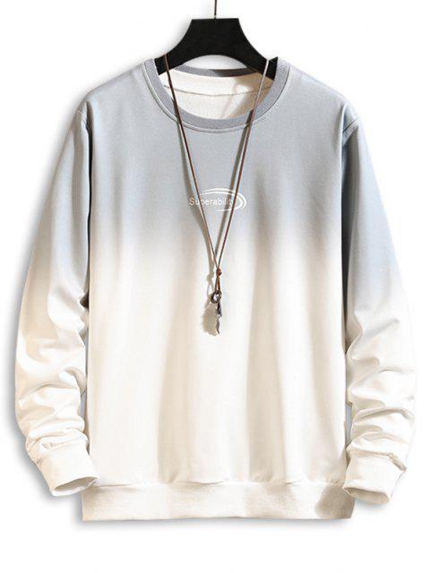 Sweat-shirtOmbréLettreImprimée à Col Rond - Gris M Mobile