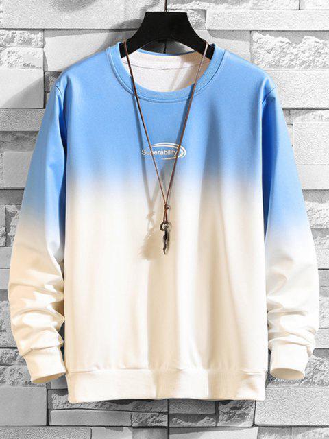 Sweat-shirtOmbréLettreImprimée à Col Rond - Bleu XS Mobile