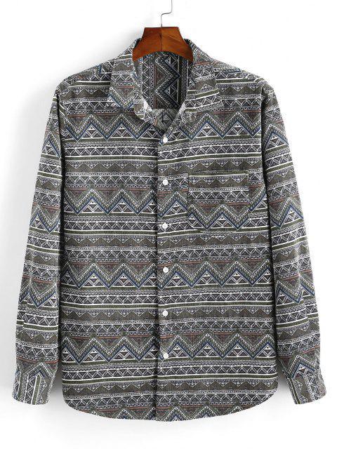online Tribal Geometric Print Pocket Velour Shirt - DEEP GREEN XL Mobile
