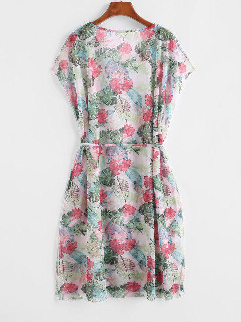 shop Belted Floral Leaves Print Cover Up Dress - LIGHT GREEN ONE SIZE Mobile
