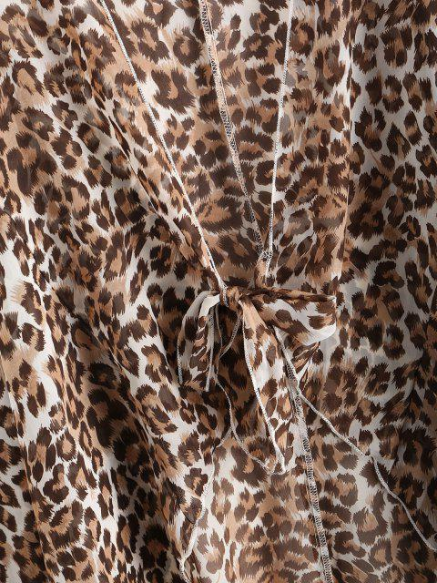 women's Knotted Leopard Beach Cover Up - DEEP COFFEE XL Mobile