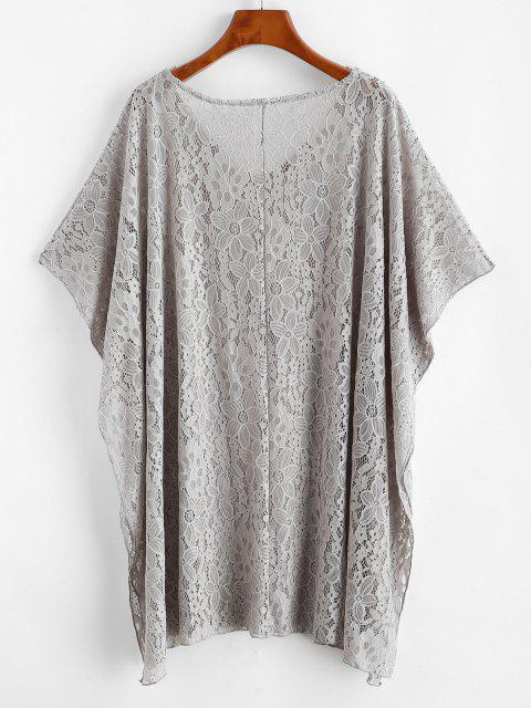 ladies Lace Cover Up Poncho Dress - LIGHT GRAY ONE SIZE Mobile