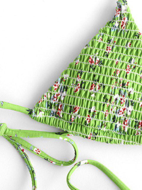 online ZAFUL Floral Tie Smocked String Bikini Swimsuit - GREEN S Mobile