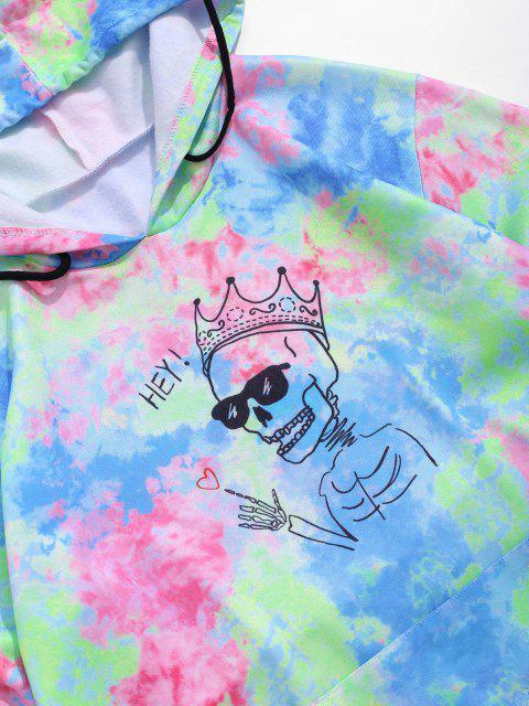 unique Tie Dye Crown Skull Graphic Front Pocket Hoodie - LIGHT BLUE S Mobile
