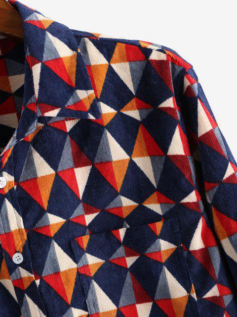 Chemise Géométrique Imprimé avec Poche Jointive à Manches Longues - Rouge foncé XL Mobile