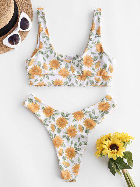 hot ZAFUL Sunflower Print Brazilian Bikini Swimwear - DARK ORANGE S Mobile