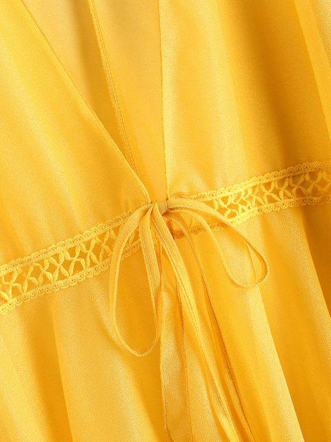 buy Tie Front Crochet Trim Shiny Beach Top - YELLOW ONE SIZE Mobile