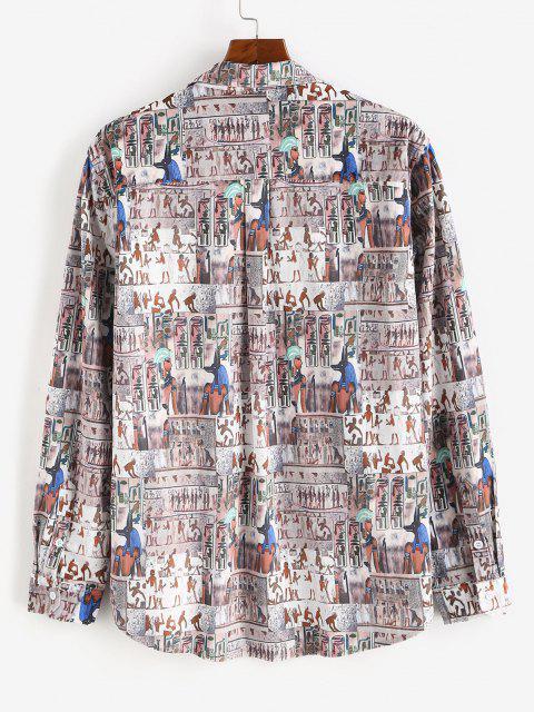 ボタンダウンインドのベロアポケットシャツ - マルチ 2XL Mobile