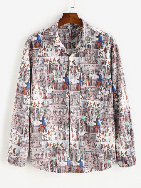 outfit Button Down Indian Pattern Velour Pocket Shirt - MULTI 3XL Mobile