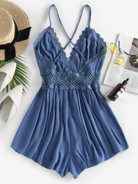 women ZAFUL Lace Crochet Crisscross Romper - DEEP BLUE XL Mobile