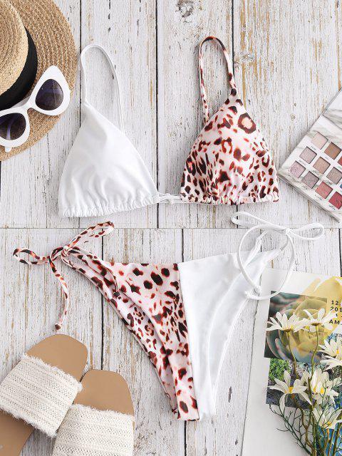 fashion ZAFUL Leopard Two Tone Tanga String Bikini Swimwear - WHITE S Mobile