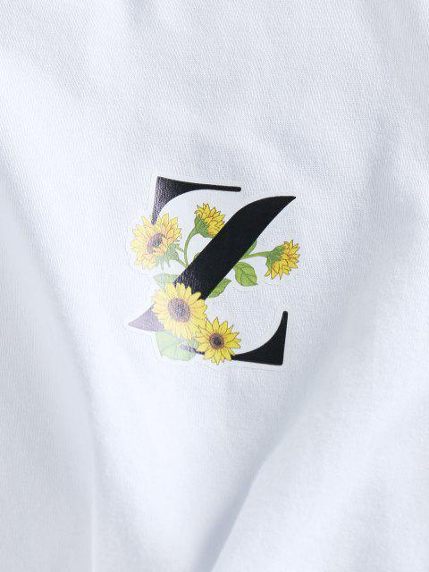 ZAFUL Camiseta de Mangas Curtas com Padrão Gráfico - Branco XL Mobile