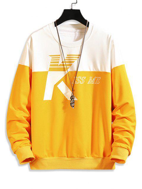 trendy Two Tone Kiss Me Print Sweatshirt - MULTI-A XS Mobile