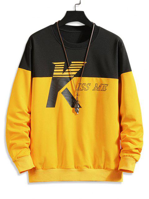 trendy Two Tone Kiss Me Print Sweatshirt - MULTI-C XL Mobile