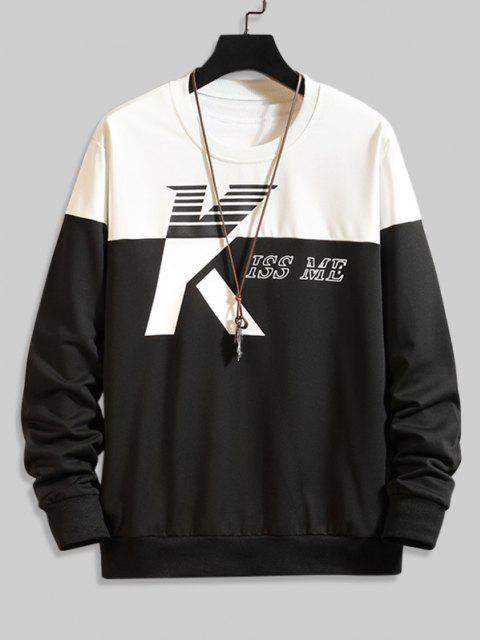 buy Two Tone Kiss Me Print Sweatshirt - MULTI-B M Mobile