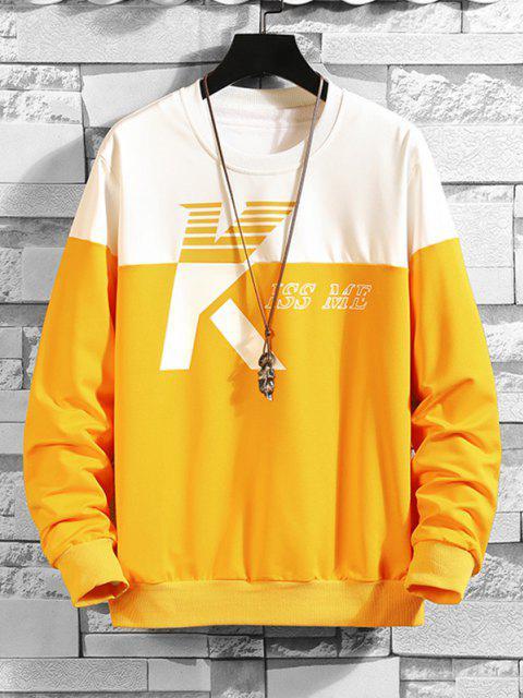best Two Tone Kiss Me Print Sweatshirt - MULTI-A L Mobile