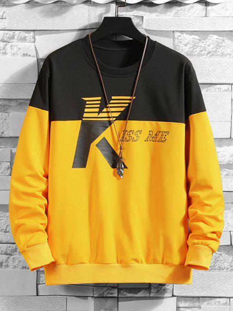 lady Two Tone Kiss Me Print Sweatshirt - MULTI-C M Mobile