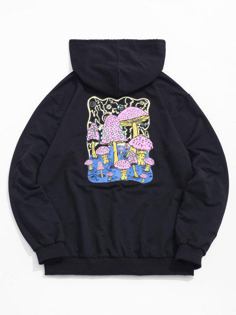 women's Mushroom Graphic Pouch Pocket Pullover Hoodie - BLACK XL Mobile