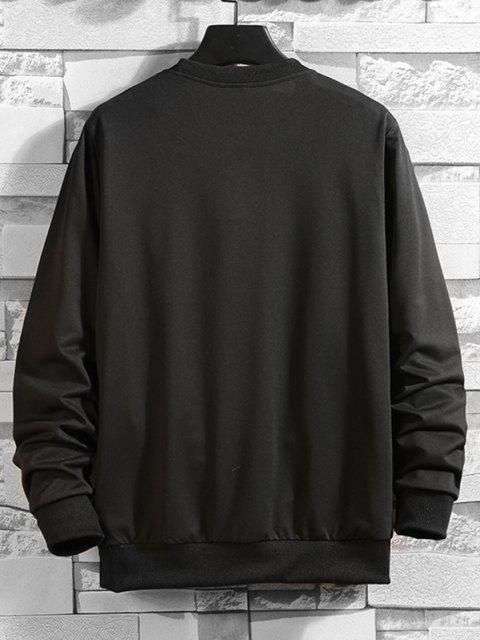 shop Crew Neck Letter Print Sweatshirt - BLACK L Mobile