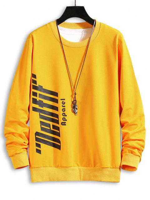 buy Crew Neck Letter Print Sweatshirt - YELLOW XL Mobile
