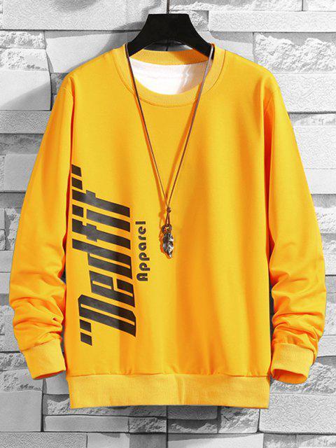 ladies Crew Neck Letter Print Sweatshirt - YELLOW XS Mobile