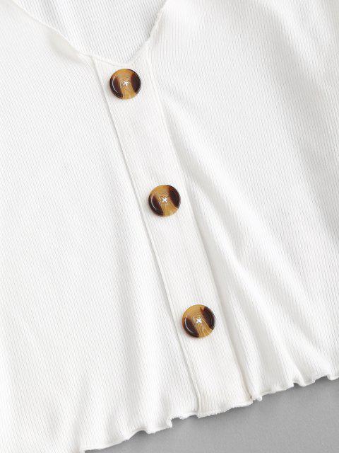 ZAFUL T-shirt de Alface Guarnição Mock Botão - Branco L Mobile